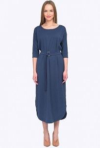 Тёмно-синее платье из трикотажа Emka PL755/solange