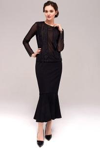 Чёрная юбка-годе TopDesign B7 032