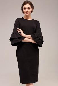 Чёрное платье с воланами на рукавах TopDesign B7 048