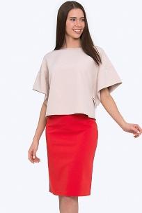 Красная юбка на кокетке Emka 686/agota