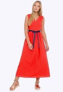 Длинное летнее платье кораллового цвета Emka PL-633/sveta