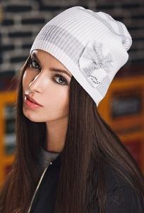Бело-серая шапка Supershapka Spring