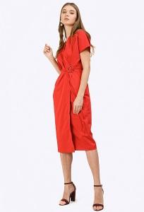 Платье с запахом красного цвета Emka PL783/fox