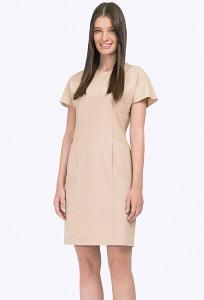 Полуприлегающее платье с короткими рукавами Emka PL771/toffee