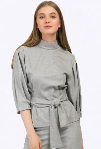 Серая закрытая блузка в стиле кэжуал Emka B2342/debra