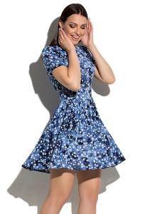 Синее короткое платье с цветами Donna Saggia DSP-65-51