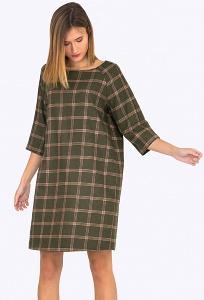 Теплое шерстяное платье в клетку Emka PL519/moana