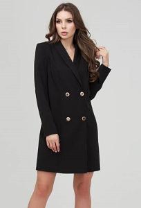 Двубортное мини-платье чёрного цвета Donna Saggia DSP-305-6