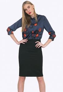 Чёрная юбка из костюмной ткани Emka S663/neurtal