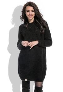 Стильное чёрное вязаное платье Fobya F473