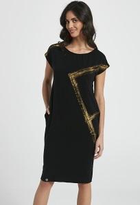 Чёрное трикотажное платье с золотым напылением Enny 250046
