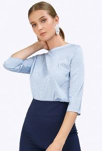 Блузка голубого цвета в гусиную лапку Emka B2354/antuanna