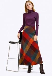 Длинная шерстяная юбка-трапеция Emka S314/manisha