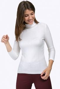 Белоснежная блузка с воротом-стойкой Emka B2358/angel