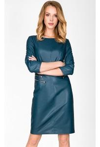 Изумрудное кожаное платье Zaps Bossa