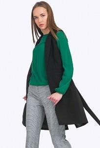 Длинный чёрный женский жилет Emka GL018/premiera