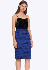 Чёрно-синяя юбка из жаккардовой ткани Emka 717/amika
