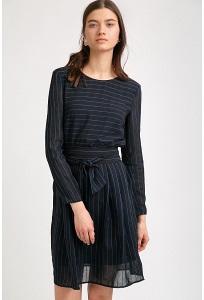 Платье темно-синего цвета в полоску Emka PL880/kantemira