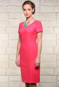 Розовое льняное платье Issi 171526
