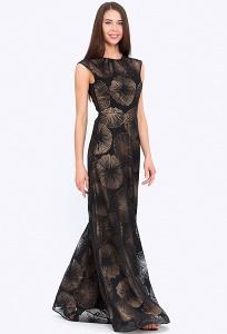 Двухслойное чёрное платье без рукавов в пол Emka PL-635/moonless