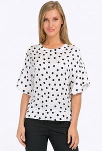 Белая блузка в чёрный горошек Emka B2305/swanky