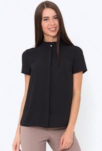 Чёрная блуза на пуговицах с коротким рукавом Emka b 2243/benjamin