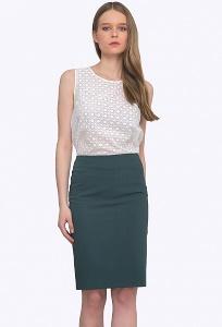 Тёмно-зеленая офисная юбка Emka S663/aries