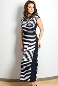 Длинное трикотажное платье в чёрно-белую полоску TopDesign A7 048
