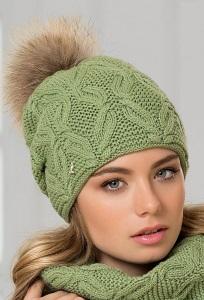 Женская вязаная шапка с помпоном Landre Аляска