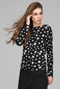 Чёрный женский свитшот с белыми звёздами Donna Saggia DSB-50-4t