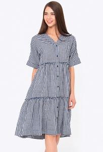Платье рубашка А-силуэта в мелкую клетку Emka PL-583/bianka