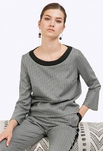 Серая блузка в узкую черную полоску Emka B2338/jersey