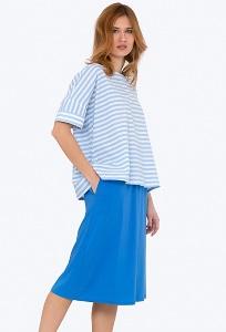 Синяя летняя юбка на резинке Emka 705/cheiz