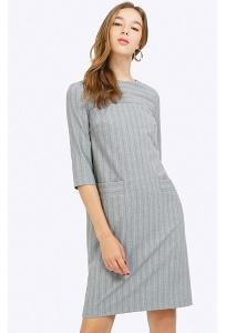 Серое платье в полоску Emka Fashion PL660/fredo