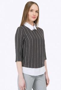 Двухцветная блузка в стиле smart-casual Emka B2296/cloud