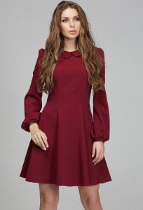 Бордовое платье с воротником Donna Saggia DSP-290-67