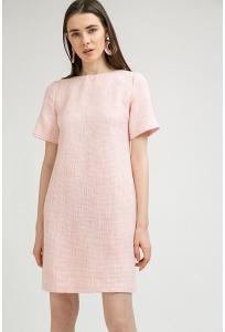 Розовое платье из ткани Шанель Emka PL800/pontevedra