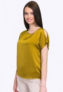 Блузка из вискозы оливкового цвета Emka B2316/sunshine