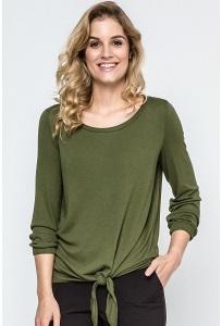 Блузка цвета хаки из трикотажа Enny 240076