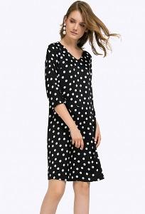 Короткое чёрное платье в белый горох Emka PL766/area