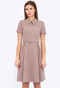 Бежевое платье с воротником Emka PL-500-1/gracia