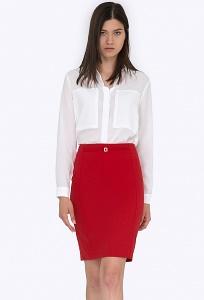 Классическая юбка-карандаш красного цвета Emka S747/amour