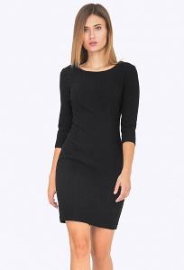Чёрное платье-футляр с рукавом 3/4 Emka PL685/lapita
