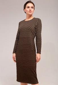 Женское платье из коричневой фактурной ткани TopDesign B7 063
