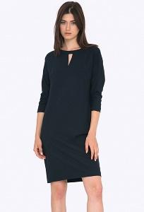Тёмно-синее платье с фигурным вырезом Emka PL695/delfina