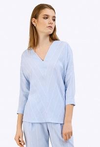 Голубая блузка в белую полоску Emka B2406/selestina