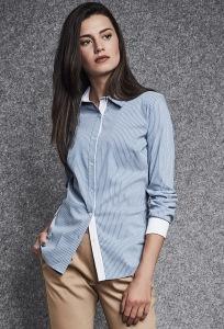 Женская голубая рубашка в полоску Enny 260021