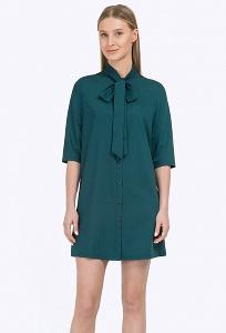Короткое тёмно-зелёное платье рубашечного кроя Emka PL702/iglesia