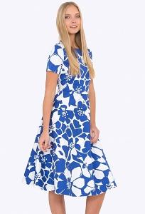 Купить летнее сине-белое платье из хлопка в интернет-магазине недорого Emka PL-683/domenika