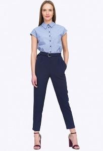 Офисные тёмно-синие брюки чиносы Emka D093/camilla